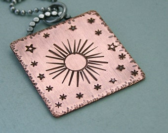 Game of Thrones Jewelry -  Hand Stamped Necklace - Copper and Sterling Silver Chain - My sun and stars - shekh ma shieraki anni