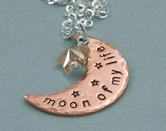 Moon of My Life  - Hand Stamped Copper Crescent Moon and Swarovkski Crystal Necklace - Game of Thrones Jewelry
