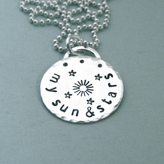 "My Sun and Stars Necklace - Game of Thrones Jewelry - Hand Stamped Sterling Silver 3/4"" Disc"