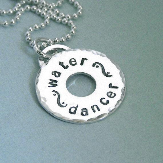Water Dancer Necklace - Arya Stark - Game of Thrones Jewelry - Hand Stamped Sterling Silver Washer