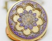 Locket,Purple Locket,Jewelry Gift,Resin Locket,Photo Locket,Filigree Locket Necklace,- vintage style brass locket,bridesmaid gift locket
