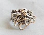 Octopus Ring Filigree Ring Adjustable Ring Steampunk Octopus Ring Antiqued Silver Filigree Unisex Nautical