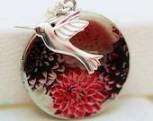 Silver Locket, Locket,Photo Locket,Flower and Hummingbird Silver Bridesmaid Necklace,Wedding Necklace