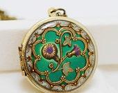 Morning Glory,Locket,Green locket,filigree locket necklace,resin locket,photo locket ,bridesmaid Brass locket- vintage locket, 38mm locket
