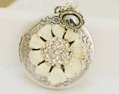 Cherry Blossom,Silver Locket,Locket,Rhinestone ,White Flower Locket,Silver Bridesmaid Necklace,Wedding Necklace