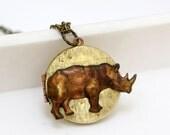 Rhinoceros Locket Necklace - vintage locket necklace, Round 32mm Vintage Locket
