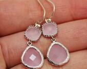 Pink Ice Earrings,Silver Earrings,Sterling Silver,Bride,Wedding,Bridal, Bridesmaid Gift