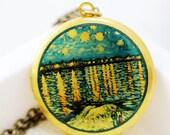 Photo Locket,Image Locket,Picture Locket -Starry Night Over Rhone  Image Round Locket- Vincent van Gogh