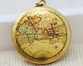 Locket Necklace,Map Locket,jewelry gift,Brass Locket,Locket,Picture Locket- Photo Image Round Locket-Vintage World Map