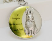 Bunny Love,Locket,Silver Locket,Rabbit,Bunny,Antique Locket,Woodland-I love you to the moon and back ,Bridesmaid Necklace,Wedding Necklace,