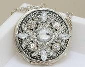 Locket, Silver Locket,Jewelry Gift, Locket,Rhinestone Locket,locket necklace,vintage style locket,Wedding Necklace,bridesmaid necklace