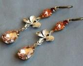 peach rhinestone and silver iris flower Earrings,Brass Earrings,Wedding.Wedding Earrings
