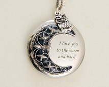 Locket Necklace,Owl Locket,Moonlight Owl,Silver locket-I love you to the moon and back,Jewelry, For Her,Bridesmaid Necklace,Wedding