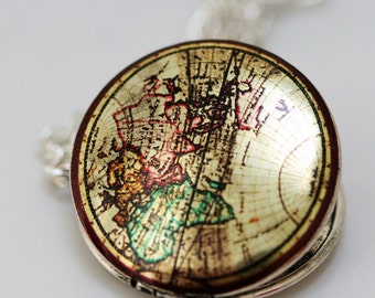 silver locket,photo locket,locket,map locket,round locket -Vintage World Map Photo Image