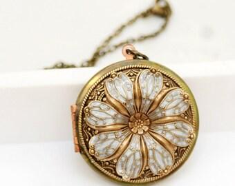 Locket, Poppy Flower Locket, locket,Enameled Necklace,photo locket  - vintage brass filigree locket,Wedding