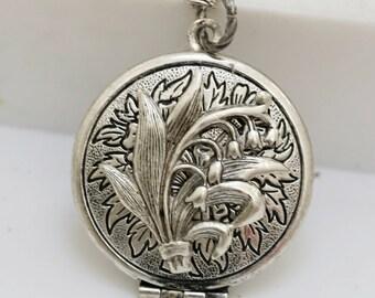 Lily of the Valley Locket,Antique style Locket,Silver Locket,Lily,Lotus, Locket,Flower Locket,Silver,Bridesmaid Necklace,Wedding Necklace