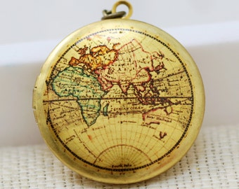 Locket Necklace,Map Locket,jewelry gift,Brass Locket,Locket,Picture Locket- Photo Image Round Locket-Vintage World Map