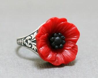 Red Poppy Flower Ring, Silver Ring, Adjustable Metal Band, Vintage Inspired Ring,Resin Flower