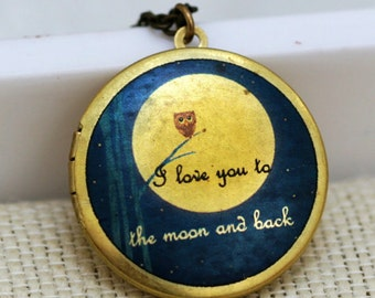 Locket,jewelry gift,Owl Locket,Moonlight Owl,Brass locket-I love you to the moon and back ,Bridesmaid Necklace,Wedding Necklace