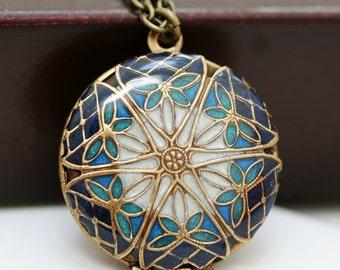 Locket,Brass Locket,Jewelry Gift,Resin Locket,Blue locket,filigree locket necklace,photo locket -  brass  filigree round locket
