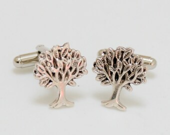 Tree of Life Cufflinks Silver Plated Nautical Tiny Size Popular Men's Cuff Links Accessories & Gifts Victorian Vintage Style