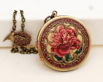 Locket,Brass Locket,Red Rose Locket,Photo Locket,Picture Locket, Wedding Necklace,Photo Image Vintage Locket,bridesmaid gift,locket necklac
