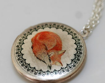 Sleepy Fox,Locket,Locket Art, Art Locket,Fox,Sleep,Red,Little,Mom,Antiqued Locket,Baby. Silver Locket