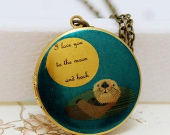 Locket Necklace,Photo Locket,jewelry,necklace,pendant, Otter Locket,Image locket,picture locket-I love you to the moon and back brass locket