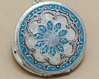 Turquoise Blue Locket,Locket,Silver Locket,jewelry gift,filigree locket necklace,Enamel Locket,photo locket, ,Wedding Necklace,bridesmaid-