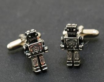 Men's Cufflinks,Robot Cufflinks,Steampunk,Antique Silver,Groomsmen,Vintage Style,Gothic Victorian,