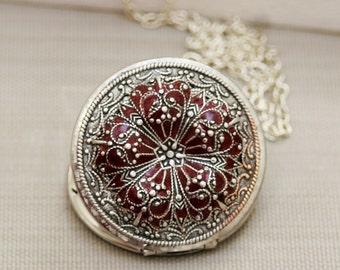 Locket, Poppy Locket,locket,Silver Locket,filigree locket necklace,photo locket , Garnet Red