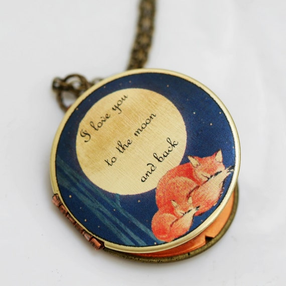 ON SALE Sleepy Fox, Fox,Sleep,Red,Mom,Baby,Antiqued Locket, 32mm,I love you to the moon and back, Photo Image Round  Locket,