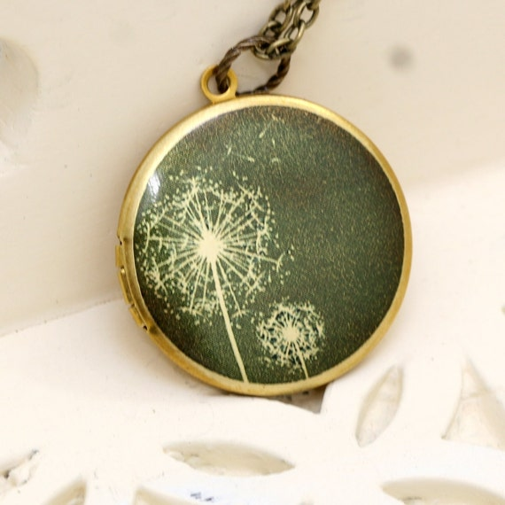 Locket,Jewelry Gift, Necklace,Dandelions Locket,Image locket,picture locket, brass locket