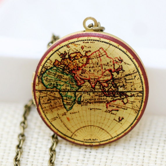 Locket,photo locket,brass locket,Photo Image Round Locket-Vintage World Map