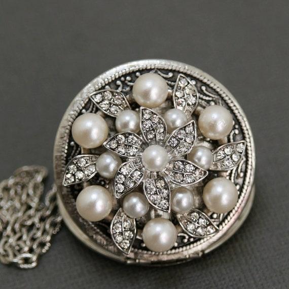Locket, Silver Locket, Jewelry,Necklace,Pendant,Mothers Day,Rhinestone Pearl Locket,vintage style locket,Wedding Necklace,bridesmaid