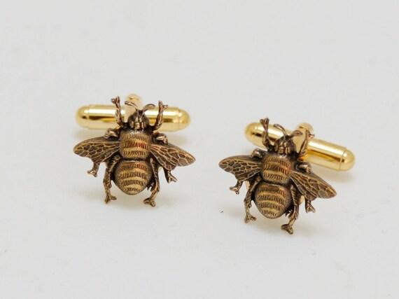Bee Cufflinks Brass & Class Men's Accessories Gifts Cuff Links Victorian Steampunk Fashion Popular Vintage