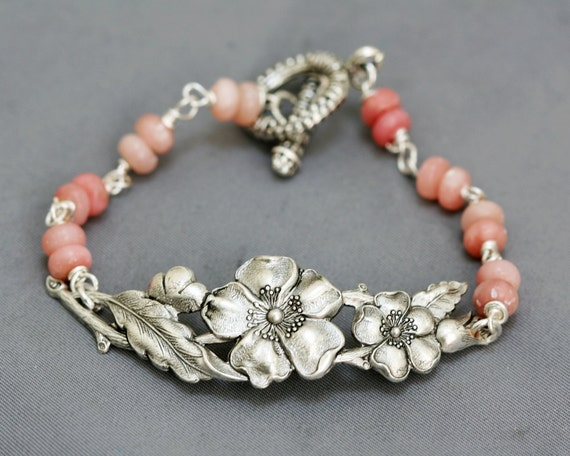 Cherry Blossom,Silver Flower Bracelet,Bangle,Bride,Wedding