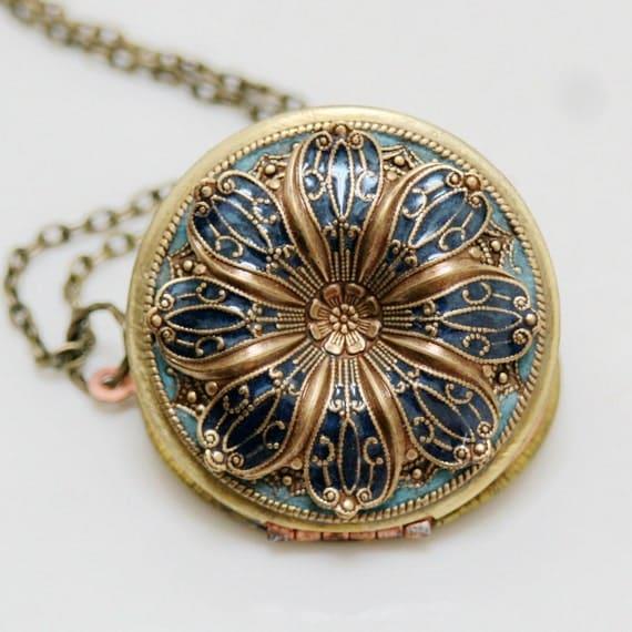 Locket, Poppy Flower Locket,Resin locket,Blue Locket,Enameled Wedding Necklace,photo locket , brass locket - vintage locket,38mm locket