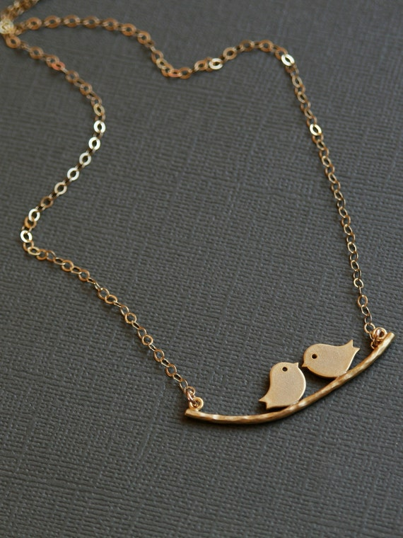Two ,Bird,branch,kiss,Necklace,Gold,Gold Necklace,Bride,Wedding Necklace.Bridesmaid Necklace