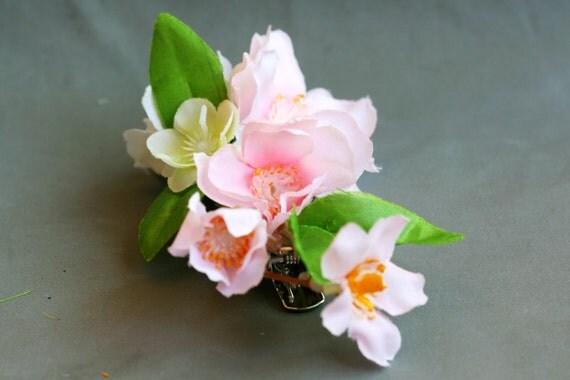 cherry blossom hair clip - a bridal flower,hair accessory,headpiece,Wedding flower hair clip