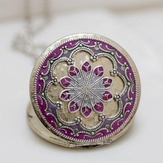 Locket,Jewelry,Necklace,Pendant, Silver Locket,Purple Locket,filigree locket necklace,Enamel Locket,Wedding,bridesmaid