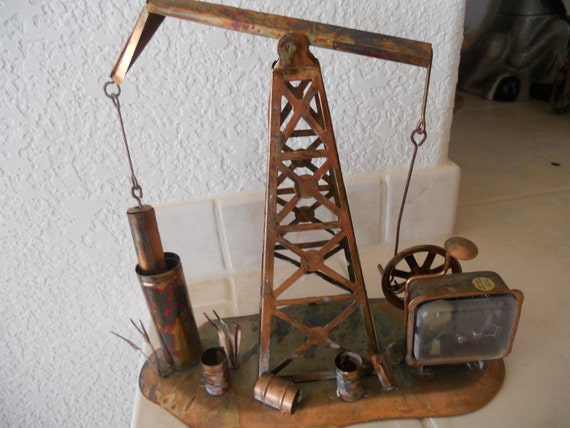 Vintage Oil Well Drill Copper Music Box