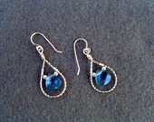 Handmade Swarovski blue Aqua Briolette dangle earrings - SS
