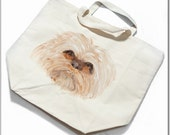 100% Organic Cotton Grocery Bag, personalized with Lhasa Apso Face