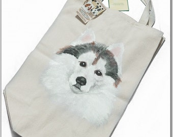 100% Organic Cotton Grocery Bag, personalized with Siberian Husky Face