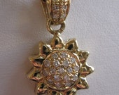 Rare Estate Chopard 18k 750 necklace with Roberto Coin Gold and Diamond petite Sunflower floral pendant, signed, estate sale find
