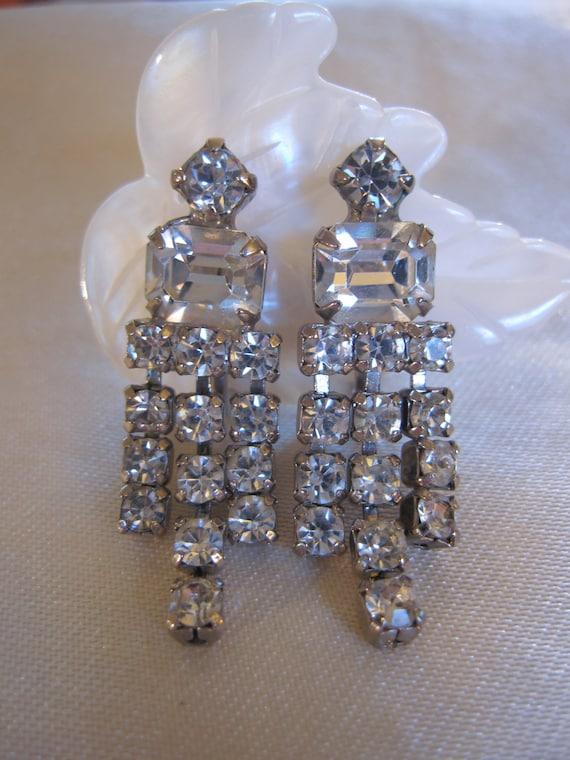 Vintage Earrings, Something Old Something Blue, Art Deco Style Crystal Rhinestone Earrings