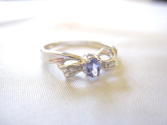 Estate Dainty Petite Tanzanite & 10k White Gold Bow Ring, Something Old for Wedding
