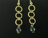 Obsidian Bead Earrings