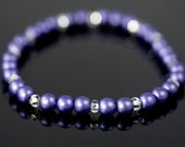 Stretch Bracelet with Lavendar Czech Glass Beads